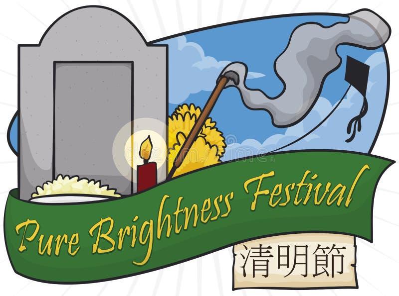 Όμορφη άποψη Gravesite, κορδελλών και κυλίνδρων για να γιορτάσει το φεστιβάλ Qingming, διανυσματική απεικόνιση ελεύθερη απεικόνιση δικαιώματος