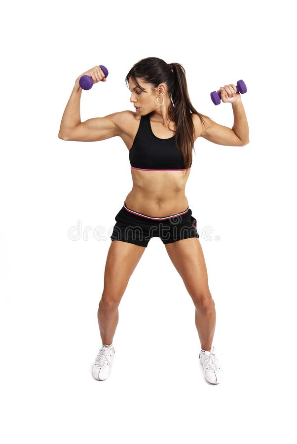 Όμορφη άσκηση γυναικών brunette στοκ εικόνα με δικαίωμα ελεύθερης χρήσης