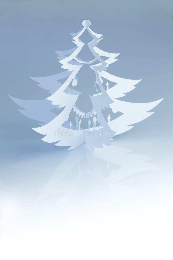 Όμορφη άσπρη χειροποίητη σκιαγραφία χριστουγεννιάτικων δέντρων - κατακόρυφος στοκ φωτογραφίες