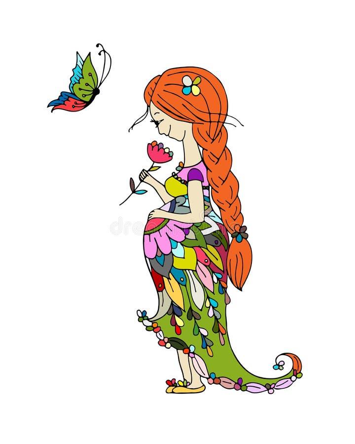 Όμορφη έγκυος γυναίκα με την πεταλούδα, σκίτσο για το σχέδιό σας διανυσματική απεικόνιση