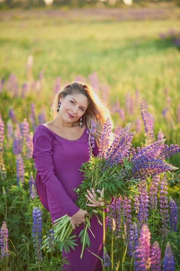 Όμορφη έγκυος γυναίκα στο ιώδες φόρεμα που κρατά ένα lupine στο ηλιοβασίλεμα στον τομέα Η έννοια της φύσης και του ειδυλλίου στοκ φωτογραφία με δικαίωμα ελεύθερης χρήσης