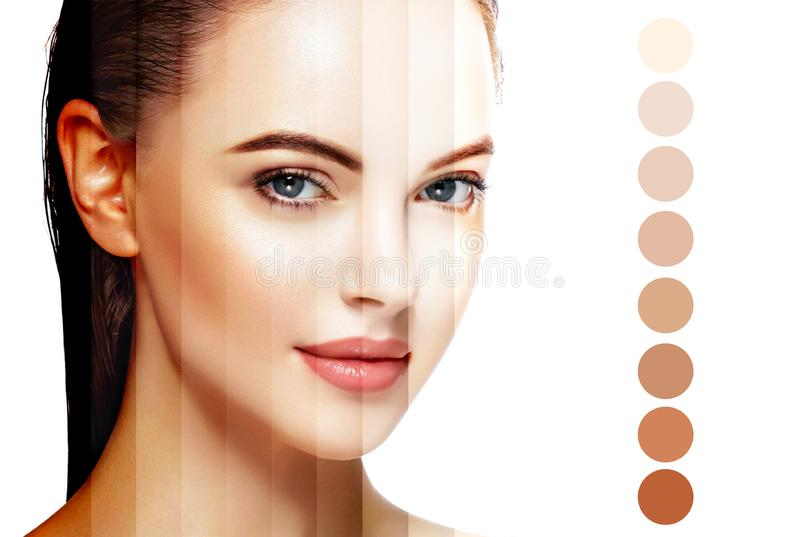 Όμορφη έννοια φροντίδας δέρματος ομορφιάς πορτρέτου προσώπου γυναικών Απομονωμένος στο λευκό στοκ φωτογραφία με δικαίωμα ελεύθερης χρήσης