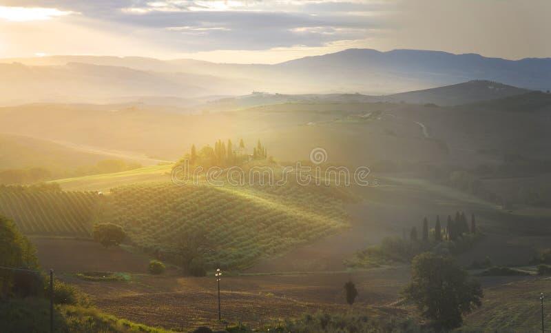 Όμορφη ανατολή της Misty πέρα από το Val D& x27 Orcia στην Τοσκάνη, Ιταλία στοκ εικόνες