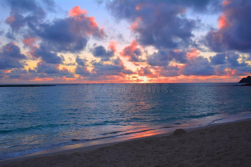 Όμορφη ανατολή oahu στην παραλία στοκ φωτογραφία με δικαίωμα ελεύθερης χρήσης