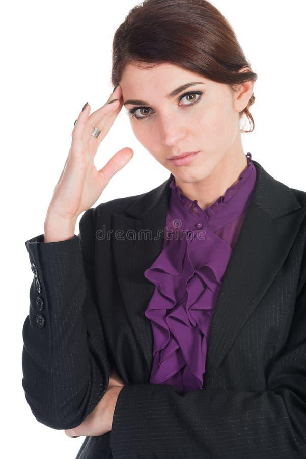 Όμορφη ανησυχία επιχειρησιακών γυναικών τίποτα που απομονώνεται για στοκ φωτογραφία με δικαίωμα ελεύθερης χρήσης