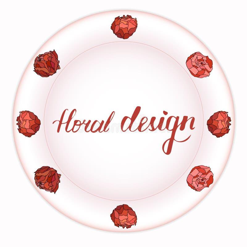 Όμορφη ανθοδέσμη των peonies σε ένα ροδαλό πιάτο απεικόνιση αποθεμάτων
