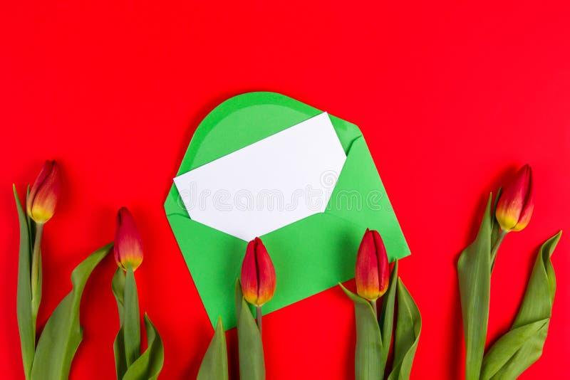 Όμορφη ανθοδέσμη τουλιπών και πράσινος φάκελος με την κάρτα στο κόκκινο υπόβαθρο στοκ φωτογραφίες