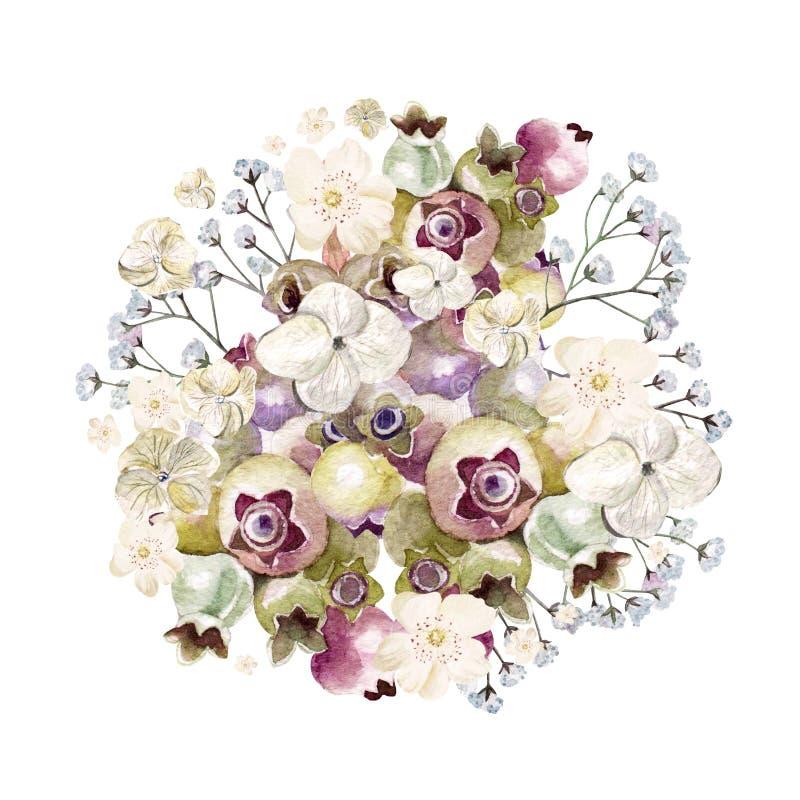 Όμορφη ανθοδέσμη watercolor με το hydrangea, τα wildflowers και τα μούρα Σασκατούν διανυσματική απεικόνιση