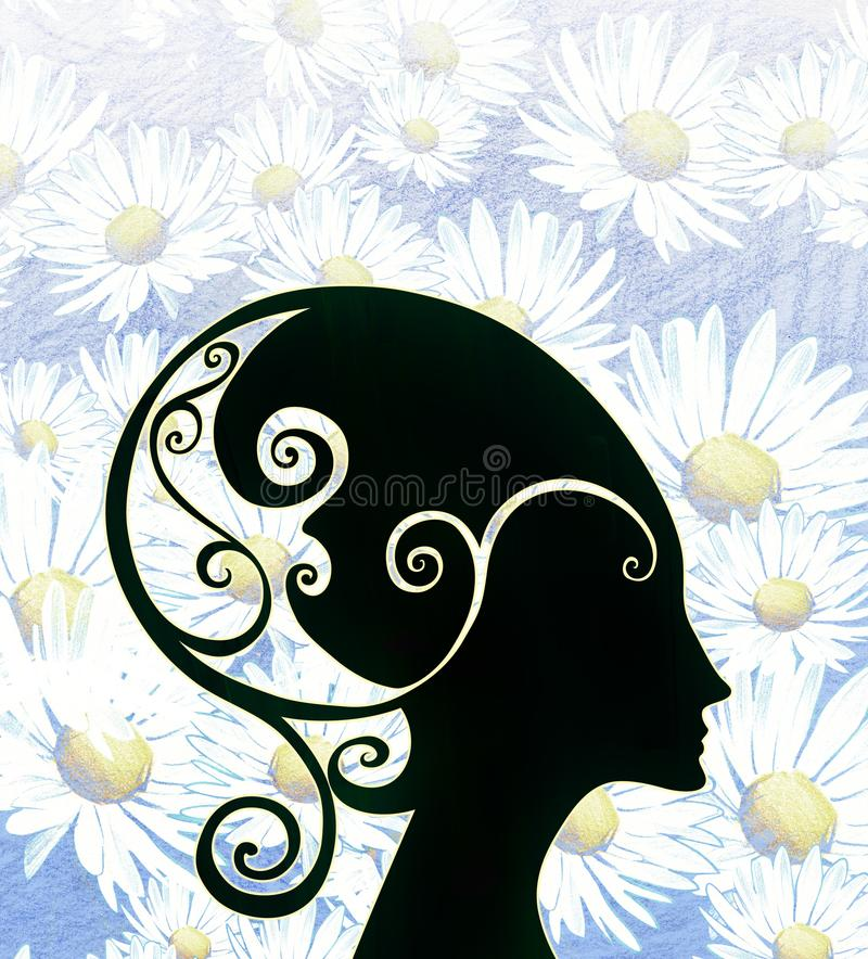 Όμορφη απεικόνιση σκιαγραφιών κινούμενων σχεδίων μαύρη του επικεφαλής φορώντας κράνους φαντασίας γυναικών ελεύθερη απεικόνιση δικαιώματος