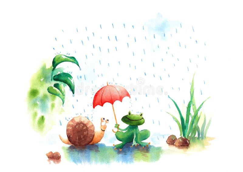 Όμορφη απεικόνιση watercolor του βατράχου και του σαλιγκαριού περιόδου βροχών απεικόνιση αποθεμάτων