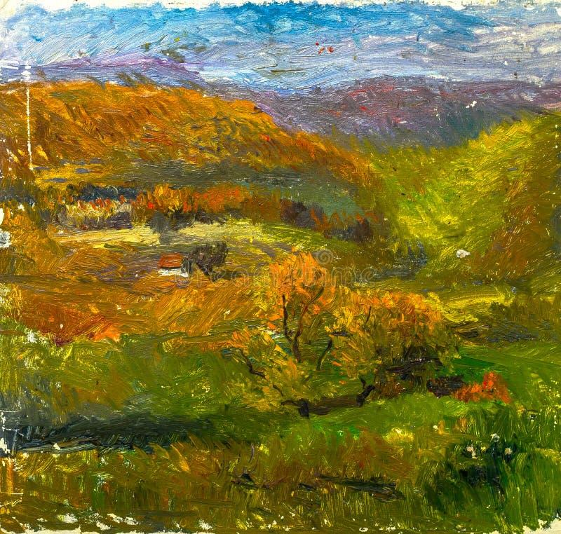 Όμορφη αρχική ελαιογραφία του τοπίου φθινοπώρου στον καμβά απεικόνιση αποθεμάτων