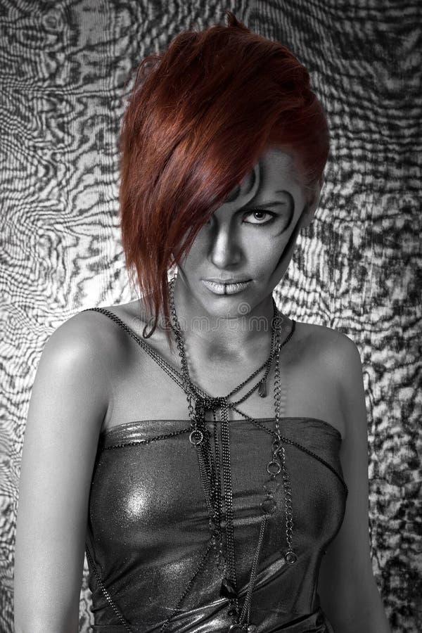 όμορφη ασημένια γυναίκα bodyart στοκ φωτογραφίες