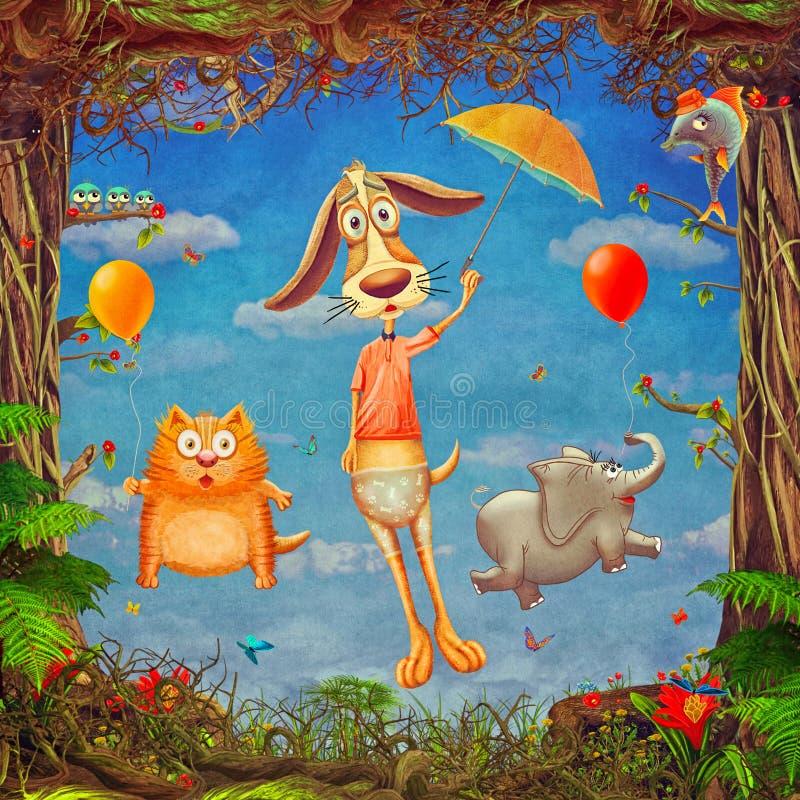 Όμορφη δασόβια σκηνή του πλαισίου άνοιξη με τα χαριτωμένα ζώα στο νεφελώδη ουρανό ελεύθερη απεικόνιση δικαιώματος
