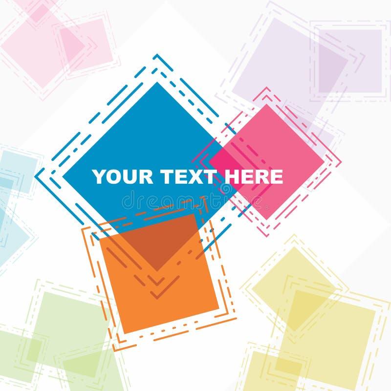 Όμορφη αφίσα ευχετήριων καρτών στο ζωηρόχρωμο αφηρημένο τετράγωνο διανυσματική απεικόνιση