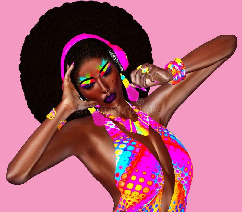 Όμορφη αφρικανική γυναίκα σε μια ζωηρόχρωμη εξάρτηση κορδελλών, που φορά τα ακουστικά διανυσματική απεικόνιση