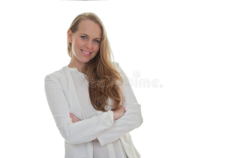 Όμορφη βέβαια φιλική χαμογελώντας γυναίκα στοκ φωτογραφίες