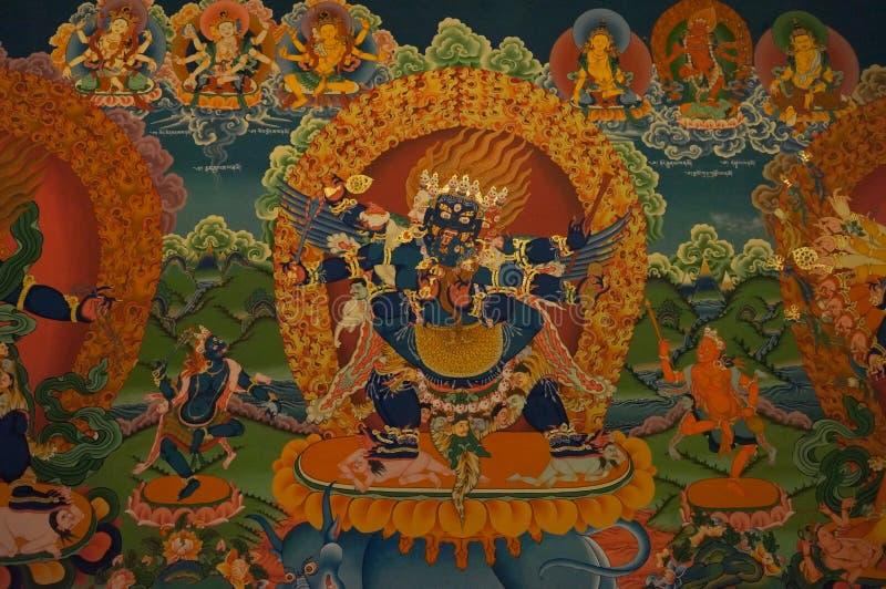 Όμορφη βουδιστική νωπογραφία στον τοίχο του θιβετιανού μοναστηριού, Hemi στοκ φωτογραφία με δικαίωμα ελεύθερης χρήσης