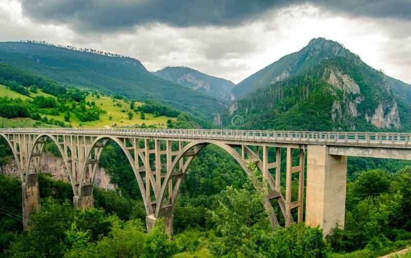 Όμορφη γέφυρα Djurdjevica πέρα από το φαράγγι της Tara ποταμών Εθνικό πάρκο Durmitor στο Μαυροβούνιο, Βαλκάνια, Ευρώπη στοκ φωτογραφίες με δικαίωμα ελεύθερης χρήσης