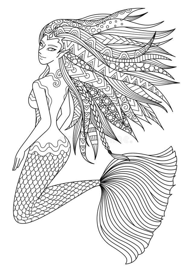 Όμορφη γοργόνα που κολυμπά στο ωκεάνιο σχέδιο για την ενήλικη χρωματίζοντας σελίδα βιβλίων επίσης corel σύρετε το διάνυσμα απεικό ελεύθερη απεικόνιση δικαιώματος