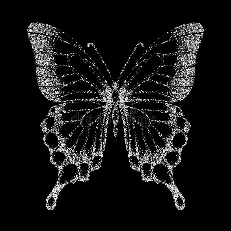 Όμορφη γραφική γραπτή πεταλούδα. ελεύθερη απεικόνιση δικαιώματος