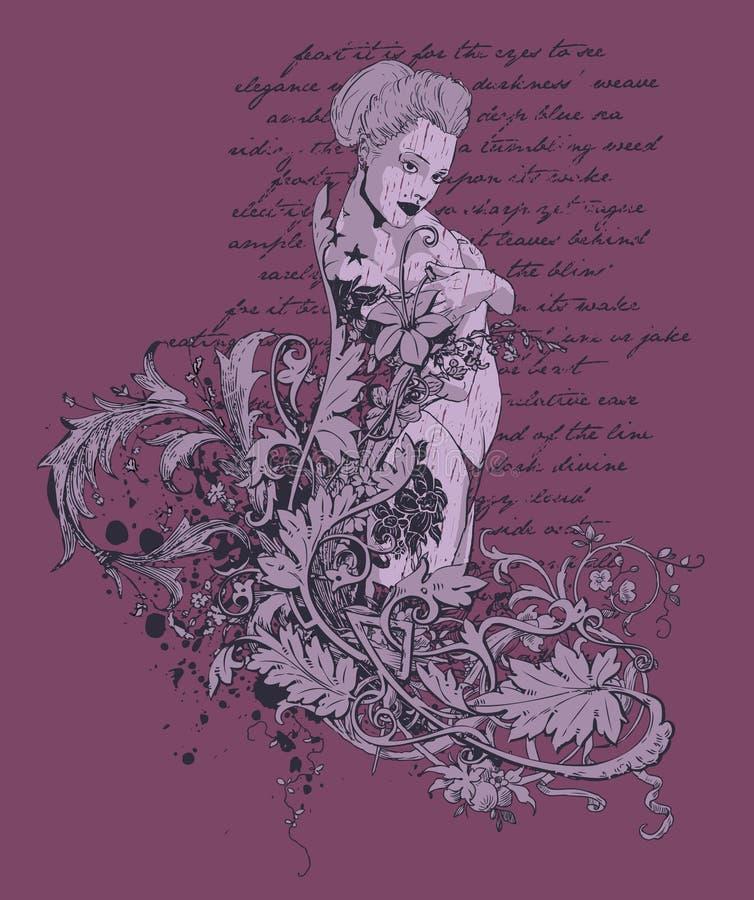 όμορφη γραφική γυναίκα απεικόνιση αποθεμάτων