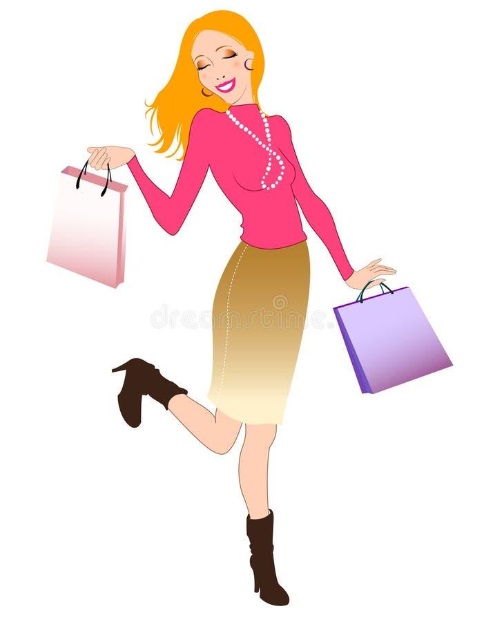 Όμορφη γυναίκα κατά τη διάρκεια των αγορών απεικόνιση αποθεμάτων