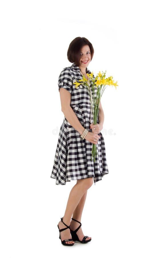 όμορφη γυναίκα κρίνων ημέρα&sigma στοκ φωτογραφίες με δικαίωμα ελεύθερης χρήσης