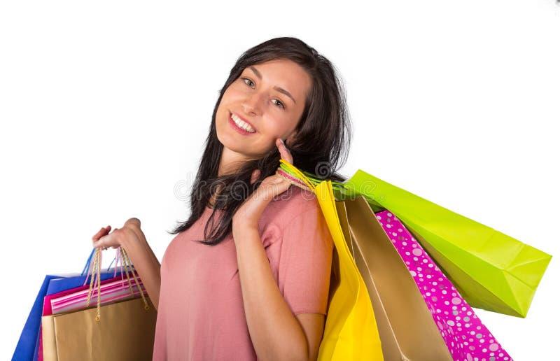 Όμορφη γυναίκα με πολλές τσάντες αγορών στοκ φωτογραφίες με δικαίωμα ελεύθερης χρήσης