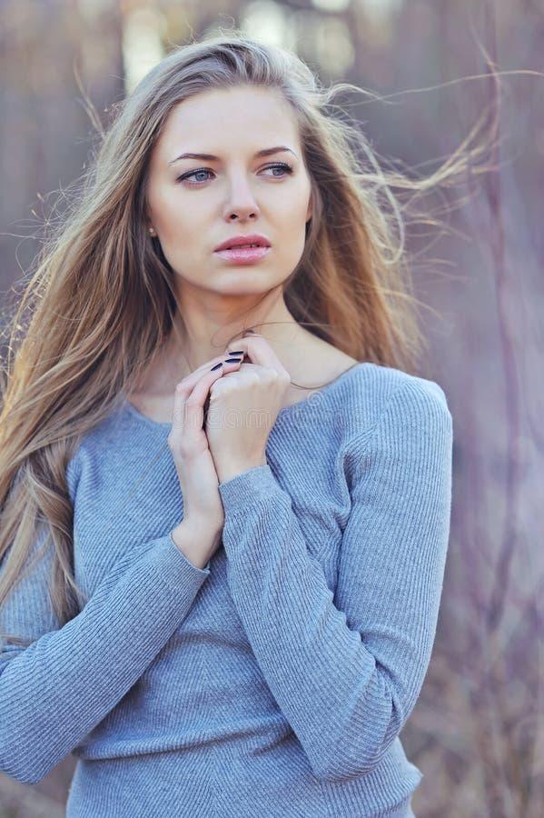 Όμορφη γυναίκα με τα μακριά ξανθά μαλλιά Κλείστε επάνω το πορτρέτο fas στοκ φωτογραφία