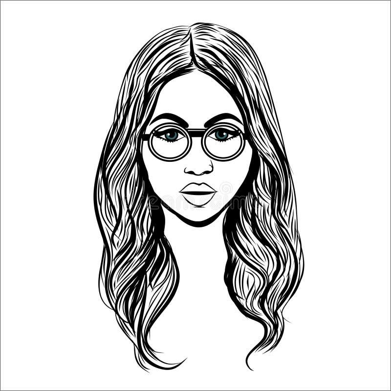 Όμορφη γυναίκα με τα specs r διανυσματική απεικόνιση