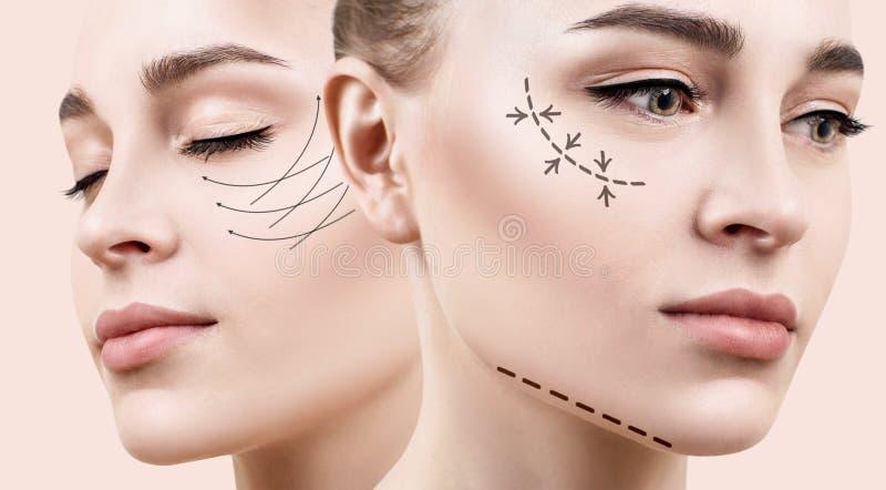 Όμορφη γυναίκα με την ανύψωση του βέλους στο πρόσωπο στοκ φωτογραφίες με δικαίωμα ελεύθερης χρήσης