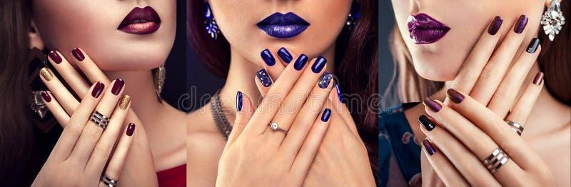 Όμορφη γυναίκα με την τέλεια σύνθεση και το μπλε μανικιούρ που φορά τα κοσμήματα Έννοια ομορφιάς και μόδας στοκ εικόνα