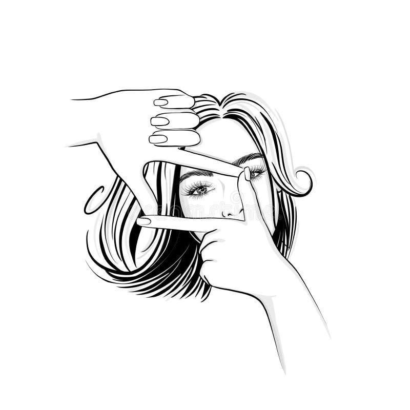 Όμορφη γυναίκα με τη μέση τρίχα μήκους που κοιτάζει μέσω ενός πλαισίου χεριών απεικόνιση αποθεμάτων