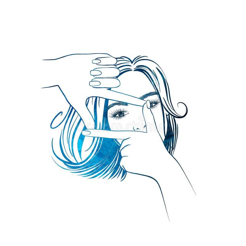 Όμορφη γυναίκα με τη μέση τρίχα μήκους που κοιτάζει μέσω ενός πλαισίου χεριών διανυσματική απεικόνιση
