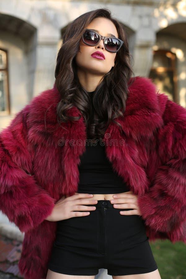 Όμορφη γυναίκα με τη σκοτεινή τρίχα που φορά το πολυτελές παλτό γουνών στοκ φωτογραφίες με δικαίωμα ελεύθερης χρήσης