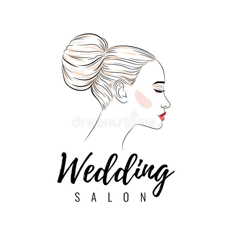 Όμορφη γυναίκα με το κουλούρι hairstyle, το γαμήλιο σαλόνι ομορφιάς, το έμβλημα ή το σχέδιο αφισών διανυσματική απεικόνιση