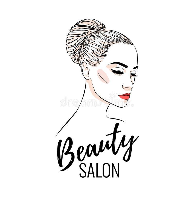 Όμορφη γυναίκα με το κουλούρι hairstyle, το σαλόνι ομορφιάς, το έμβλημα ή το σχέδιο αφισών διανυσματική απεικόνιση