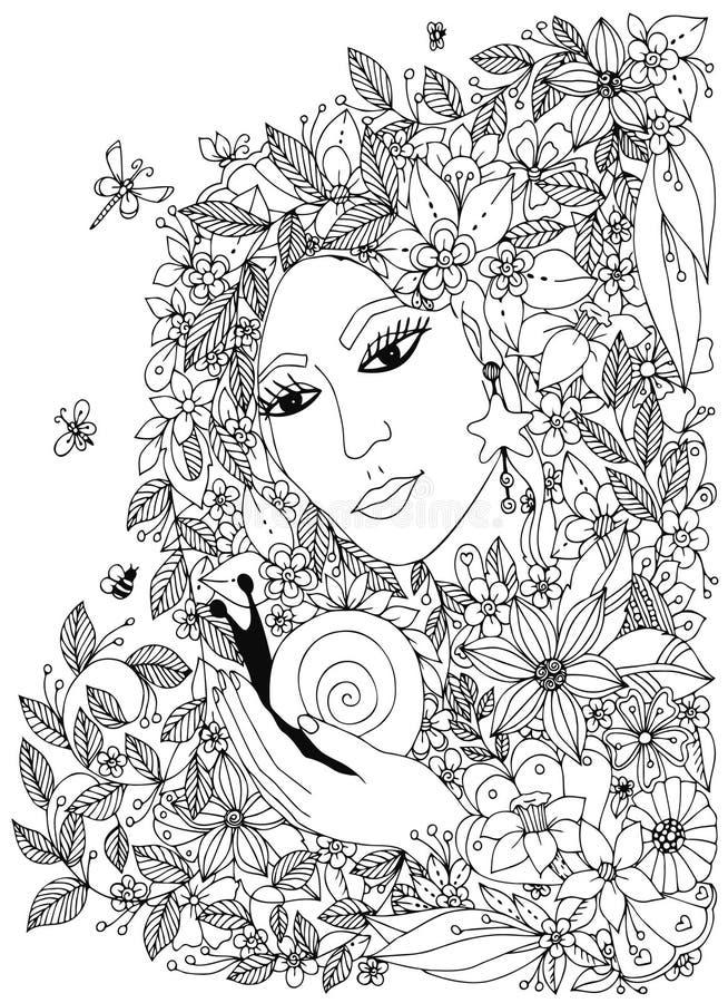 Όμορφη γυναίκα με το σαλιγκάρι στα χρώματα Σχέδιο για τους χρωματίζοντας ενηλίκους βιβλίων απεικόνιση αποθεμάτων
