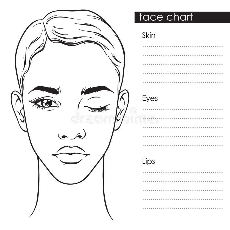 Όμορφη γυναίκα με το σύντομο κούρεμα και ένα κλειστό μάτι πορτρέτο Προσώπου διαγραμμάτων Makeup διανυσματικό llustration προτύπων ελεύθερη απεικόνιση δικαιώματος