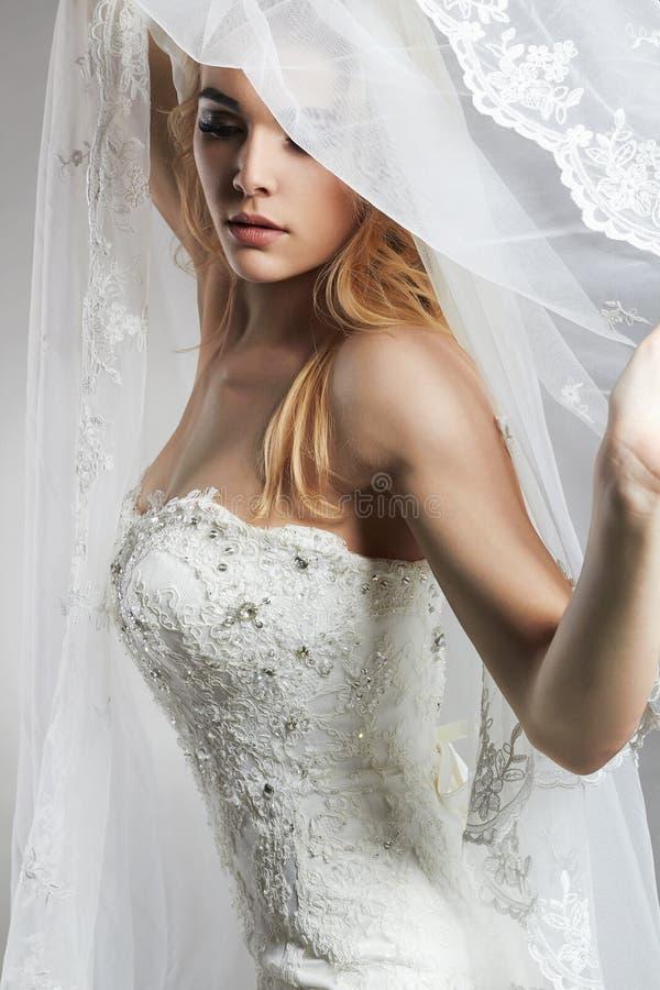 Όμορφη γυναίκα νυφών στο γαμήλια φόρεμα και το πέπλο στοκ εικόνα με δικαίωμα ελεύθερης χρήσης