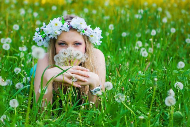 Όμορφη γυναίκα που απολαμβάνει τον τομέα πικραλίδων στοκ εικόνες