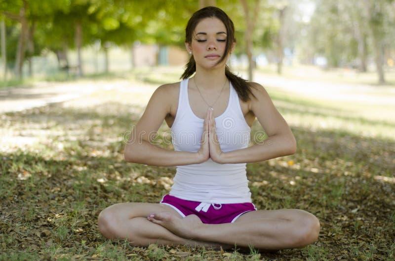 Όμορφη γυναίκα που κάνει τη γιόγκα στο πάρκο στοκ φωτογραφία με δικαίωμα ελεύθερης χρήσης