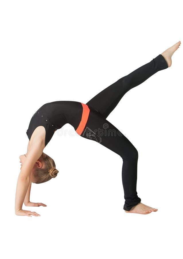 Όμορφη γυναίκα που κάνει το άσπρο υπόβαθρο yoguna στοκ φωτογραφία