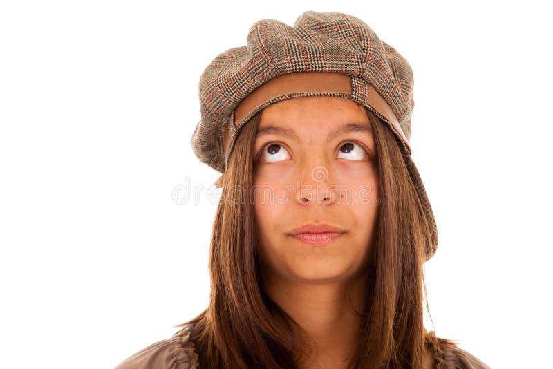 Όμορφη γυναίκα που κοιτάζει στο copyspace στοκ εικόνες με δικαίωμα ελεύθερης χρήσης