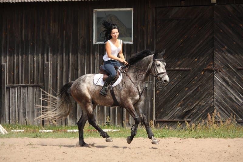 Όμορφη γυναίκα που οδηγά το γκρίζο άλογο στοκ φωτογραφίες με δικαίωμα ελεύθερης χρήσης