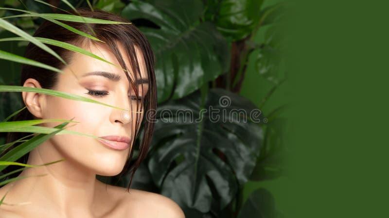 Όμορφη γυναίκα που περιβάλλεται από τις πράσινες εγκαταστάσεις Οργανικά καλλυντικά και έννοια προσοχής σωμάτων στοκ εικόνες με δικαίωμα ελεύθερης χρήσης