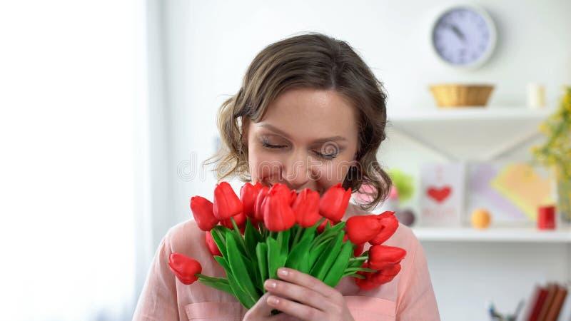 Όμορφη γυναίκα που ρουθουνίζει τις κόκκινες τουλίπες, παρόν από το φίλο, εορτασμός διακοπών στοκ εικόνα