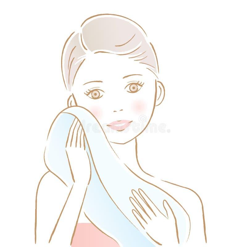 Όμορφη γυναίκα που σκουπίζει το πρόσωπό της με την πετσέτα Φροντίδα δέρματος και έννοια ομορφιάς ελεύθερη απεικόνιση δικαιώματος