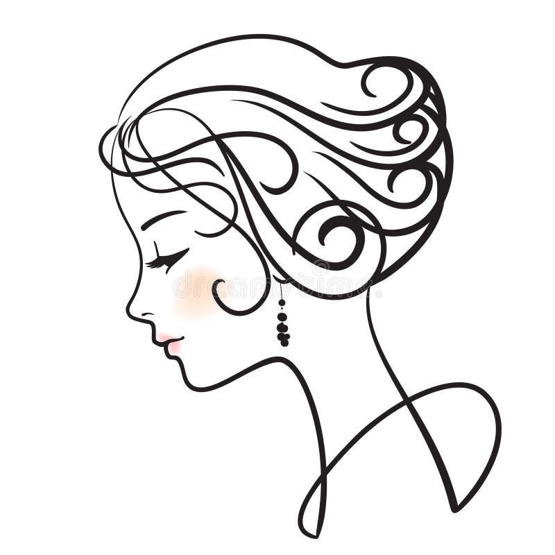 Download όμορφη γυναίκα προσώπου διανυσματική απεικόνιση. εικονογραφία από απομονωμένος - 13182166