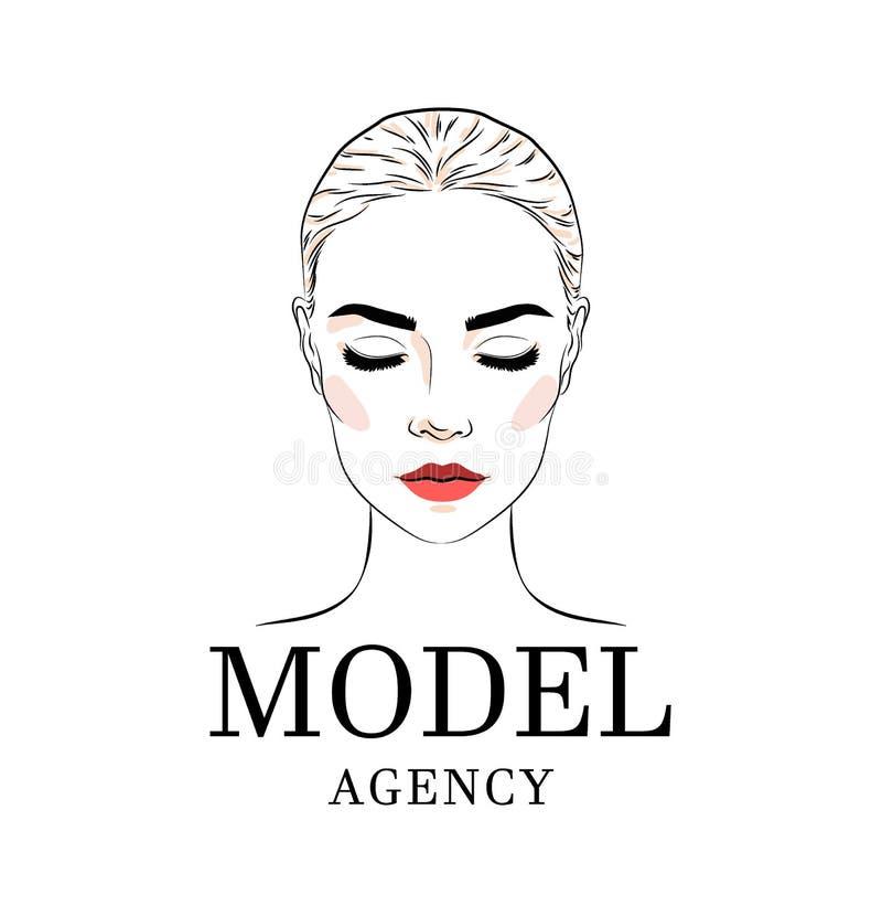 Όμορφη γυναίκα, πρότυπο λογότυπο ακαδημιών, έμβλημα ή σχέδιο αφισών ελεύθερη απεικόνιση δικαιώματος
